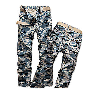 cheap Camping, Hiking & Backpacking-Men's Work Pants Hiking Cargo Pants Hiking Pants Trousers Camo Summer Outdoor Ripstop Ventilation Multi-Pockets Breathable Cotton Pants / Trousers Blue Work Hunting Fishing 28 29 30 31 32
