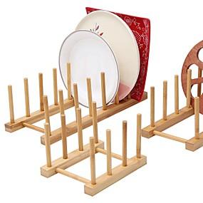 billige Frukt & Grønnsaks-verktøy-kjøkken bambus tallerken oppbevaringsholder dreneringsstativ for tallerkenbolle og kopp