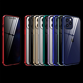 cheap Cases & Covers-Case For iPhone 12 / 12 Mini / 12 Pro Max Shockproof / Flip / Transparent Full Body Cases Transparent / Solid Colored Tempered Glass / Metal / Anti-Voyeurism Case For iPhone 11Pro Max / 11 / 11Pro
