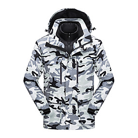 cheap Camping, Hiking & Backpacking-Men's Hiking Jacket Hiking 3-in-1 Jackets Autumn / Fall Winter Spring Outdoor Solid Color Windproof Fleece Lining Warm Breathable Winter Jacket Nylon Hunting Fishing Climbing Black Red Camouflage