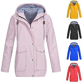 cheap Camping, Hiking & Backpacking-women's waterproof raincoat outdoor hooded rain jacket windbreaker trench coats top windproof wear resistance breathable lightweight amiley active climbing travel hiking camping