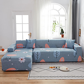 cheap Slipcovers-Leaf Print 1-Piece Sofa Cover Couch Cover Furniture Protector Soft Stretch Sofa Slipcover Spandex Jacquard Fabric Super Fit for 1~4 Cushion Couch and L Shape Sofa,Easy to Install(1 Free Cushion Cover)