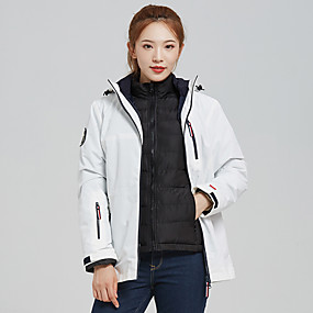 cheap Camping, Hiking & Backpacking-Women's Hiking Jacket Hiking Windbreaker Autumn / Fall Winter Outdoor Solid Color Windproof Detachable Fleece Warm Breathable Jacket Winter Jacket Single Slider Hunting Ski / Snowboard Fishing White
