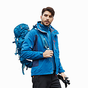 cheap Camping, Hiking & Backpacking-Men's Hiking Jacket Hiking 3-in-1 Jackets Hiking Windbreaker Autumn / Fall Winter Outdoor Solid Color Windproof Warm Front Zipper Quick Dry Jacket Winter Jacket Single Slider Hunting Ski / Snowboard