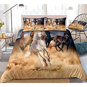 cheap Bedding Sets-3D Horse Print 3-Piece Duvet Cover Set Hotel Bedding Sets Comforter Cover with Soft Lightweight Microfiber(Include 1 Duvet Cover and 1or 2 Pillowcases)
