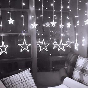 cheap LED String Lights-2pcs Christmas Fairy Lights LED String Lights Star Garland Festoon 1pc on Window Curtain Bedroom Indoor Christmas Tree Decoration Halloween Wedding Stardust Lamp