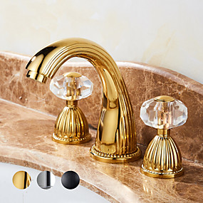 cheap Faucets/Shower System/Kitchen Tap-Bathroom Sink Faucet -Elegant Waterfall Gold Centerset Two Handles Three Holes