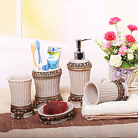 cheap Bathroom Accesscories Set-Bathroom Accessories Set 5 Piece Ceramic Complete Bathroom Set for Bath Decor Includes Toothbrush Holder Soap Dispenser Soap Dish 2 Mouthwash Cup Home & Hotel