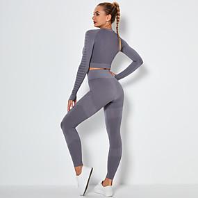 cheap Yoga & Fitness-Women's 2pcs Yoga Suit Winter Seamless Thumbhole Fashion Black Purple Blue Nylon Yoga Fitness Running Cropped Leggings Crop Top Clothing Suit Long Sleeve Sport Activewear Tummy Control Butt Lift