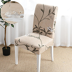 preiswerte Schonbezüge-beige Pflanzen drucken super weiche wasserdichte Stuhlhülle Stretch abnehmbare waschbare Esszimmer Stuhl Schutz Schonbezüge Wohnkultur Esszimmer Sitzbezug