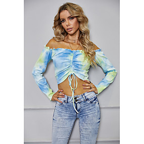preiswerte Women's Tops-Damen Bluse Hemd Bustier Batik Langarm Kordelzug Schulterfrei Oberteile Sexy Basic Top Blau