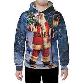 cheap Athleisure Wear-Men's Pullover Hoodie Sweatshirt Graphic 3D Portrait Front Pocket Christmas Daily 3D Print 3D Print Hoodies Sweatshirts  Blue