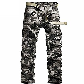 cheap Camping, Hiking & Backpacking-Men's Work Pants Hiking Cargo Pants Hiking Pants Trousers Camo Summer Outdoor Ripstop Ventilation Multi-Pockets Breathable Cotton Pants / Trousers White Grey Work Hunting Fishing 28 29 30 31 32