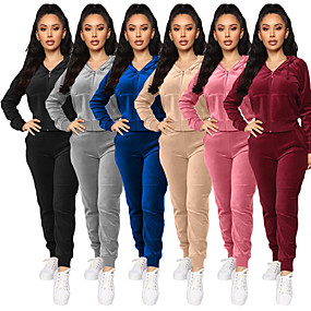 cheap Running & Jogging-Women's 2 Piece Full Zip Tracksuit Sweatsuit Street Casual Long Sleeve Velvet Windproof Breathable Soft Yoga Fitness Gym Workout Running Jogging Sportswear Solid Colored Jacket Black Burgundy Blue