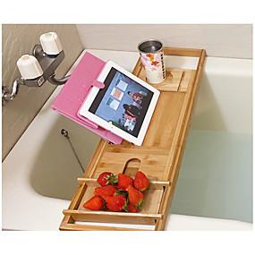 cheap Bathroom Gadgets-Bath Caddies Bathtub Rack Bamboo Wood for Bathroom Storage Bamboo Telescopic Non-slip Bathroom Multifunctional Bathtub Shelf Bathroom Spa Bathing Shelf