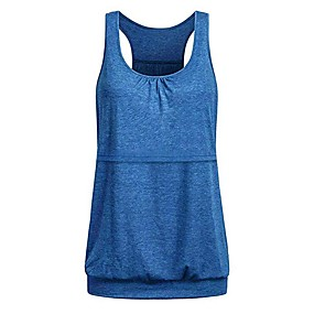 cheap Yoga & Fitness-Women's Round Neck Racerback Tank Top Navy Dark Gray Black Purple Red Cotton Yoga Fitness Gym Workout Sport Activewear Lightweight 4 Way Stretch Breathable Comfort Quick Dry High Elasticity Loose
