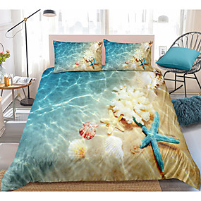 cheap 3D Duvet Covers-3D Digital Print Ocean Duvet Cover Set Blue Beach Bedding Coastal Nature Theme Pattern Boys Girls Bedding Sets Queen Include 1 Duvet Cover and 1 or 2 Pillowcases