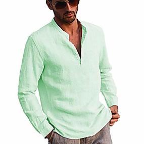 cheap Athleisure Wear-men's linen long sleeve henley shirt yoga tops casual fashion  t-shirt blouse (green, m)