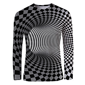 cheap Men's basics-Men's Daily T-shirt Graphic 3D Print Print Long Sleeve Tops Basic Elegant Black / White