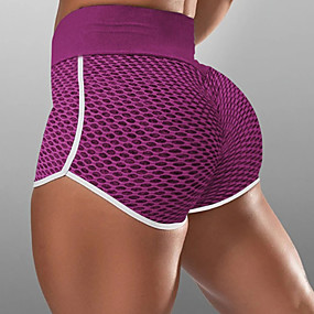 cheap Running & Jogging-Women's Compression Shorts Running Tight Shorts Street Bottoms with White Trim Fitness Gym Workout Running Jogging Training Breathable Quick Dry Soft Sport Solid Colored Black Blushing Pink Wine Blue