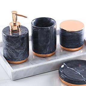 billige Soap Dispensers-Baderomsutstyrssett, 4-delt keramisk komplett badesett for badekarinnredning, inkluderer tannbørsteholder, såpedispenser, såpeskål, bomullskoppkopp og hjem og hotell