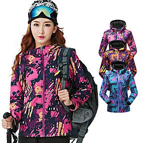 cheap Camping, Hiking & Backpacking-Women's Hiking Softshell Jacket Autumn / Fall Winter Outdoor Camo Windproof Anatomic Design Breathable Wear Resistance Jacket Winter Jacket Top Softshell Waterproof Single Slider Camping / Hiking