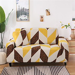 cheap Slipcovers-Geometric Print 1-Piece Sofa Cover Couch Cover Furniture Protector Soft Stretch Slipcover Spandex Jacquard Fabric Super Fit for 1~4 Cushion Couch and L Shape Sofa,Easy to Install(1 Free Cushion Cover)