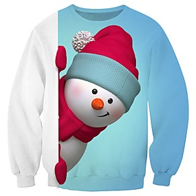 cheap Athleisure Wear-Men's Pullover Sweatshirt Graphic 3D Character Round Neck Christmas 3D Print Casual Christmas Hoodies Sweatshirts  Long Sleeve Loose Blue