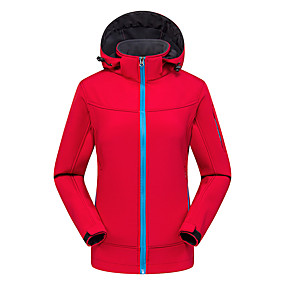 cheap Camping, Hiking & Backpacking-Women's Men's Hiking Softshell Jacket Hiking Jacket Hoodie Jacket Autumn / Fall Winter Spring Outdoor Patchwork Waterproof Windproof Warm Stretchy Jacket Top Softshell Climbing Camping / Hiking