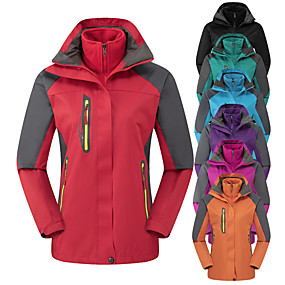cheap Camping, Hiking & Backpacking-Women's Hiking Jacket Hoodie Jacket Hiking 3-in-1 Jackets Autumn / Fall Winter Spring Outdoor Solid Color Waterproof Windproof Warm Anatomic Design Jacket Full Length Visible Zipper Camping / Hiking