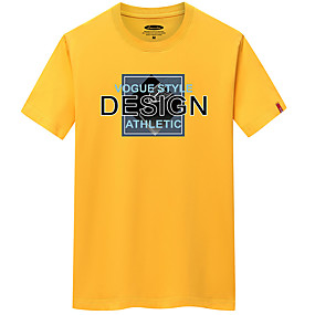 cheap Athleisure Wear-Men's Unisex T shirt Shirt Painting Solid Color Short Sleeve Daily Wear Tops Cotton Personalized Charcoal Gray Gray blue Orange yellow