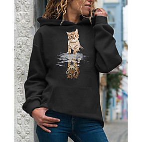 cheap Athleisure Wear-Women's Hoodie Pullover Cat Daily Casual Hoodies Sweatshirts  Loose White Red Yellow