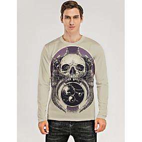 cheap Athleisure Wear-Men's T shirt 3D Print Graphic 3D Skull Print Long Sleeve Daily Tops Purple