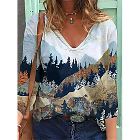 cheap Athleisure Wear-Women's Tunic Scenery Long Sleeve Print V Neck Sexy Tops White