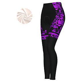 cheap Cycling & Motorcycling-21Grams Women's Cycling Tights Cycling Pants Winter Fleece Polyester Bike Tights Padded Shorts / Chamois Pants Thermal Warm Fleece Lining Breathable Sports White / Purple / Blue Mountain Bike MTB