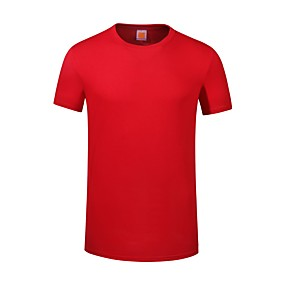 cheap Athleisure Wear-Men's Unisex Tee T shirt Solid Color Plus Size Short Sleeve Causal Tops Cotton Active Basic Black Red