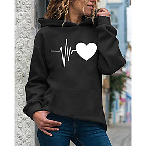 cheap Athleisure Wear-Women's Hoodie Pullover Heart Daily Casual Hoodies Sweatshirts  Loose White Purple Red