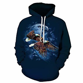 cheap Athleisure Wear-hoodies for men with designs american bald eagle 3d colorful funny tunic tops boys daily casual wear dark blue
