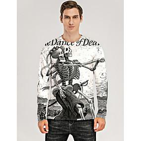 cheap Athleisure Wear-Men's T shirt 3D Print Graphic 3D Skull Print Long Sleeve Daily Tops White