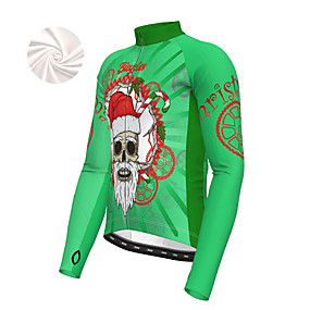 cheap Cycling & Motorcycling-21Grams Men's Long Sleeve Cycling Jacket Winter Fleece Polyester Purple Yellow Red Santa Claus Bike Jacket Top Mountain Bike MTB Road Bike Cycling Thermal Warm Fleece Lining Breathable Sports