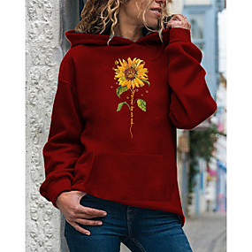 cheap Athleisure Wear-Women's Hoodie Pullover Sunflower Daily Casual Hoodies Sweatshirts  Loose White Purple Red
