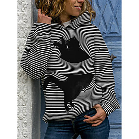 cheap Athleisure Wear-Women's Pullover Hoodie Sweatshirt Striped Cat 3D Daily Going out 3D Print Basic Hoodies Sweatshirts  Loose Black Blue Gray