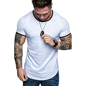 cheap Athleisure Wear-Men's Tunic Tee Shirt Plain Solid Color Short Sleeve Indoor Tops Cotton Simple Solid Round Neck White Red Black