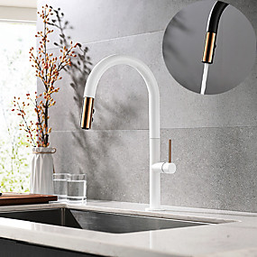 cheap Kitchen-Single HandleKitchenFaucet,Painted FinishesOneHole Pull Down/Rotatable/Spray/Rainshower/Waterfall,Brass Kitchen Faucet Contain with Supply Lines