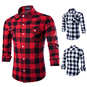 cheap Camping, Hiking & Backpacking-Men's Hiking Shirt / Button Down Shirts Top Outdoor Quick Dry Breathable Sweat-Wicking Wear Resistance Autumn / Fall Spring Summer Cotton Black Red Camping / Hiking Hunting Fishing