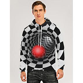 cheap Athleisure Wear-Men's Pullover Hoodie Sweatshirt Graphic Optical Illusion 3D Front Pocket Daily 3D Print 3D Print Casual Hoodies Sweatshirts  Black Purple Yellow