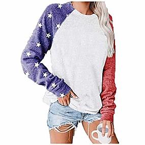 cheap Women-long sleeve american flag t-shirts american flag apparel for women tee tunic blouses patriotic womens apparel