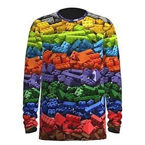 cheap Athleisure Wear-Men's T shirt 3D Print Graphic Abstract 3D Print Long Sleeve Daily Tops Rainbow