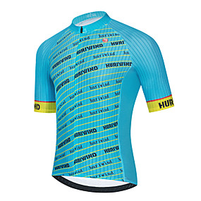 cheap Cycling & Motorcycling-21Grams Men's Short Sleeve Cycling Jersey Summer Polyester Blue Stripes Bike Jersey Top Mountain Bike MTB Road Bike Cycling Quick Dry Breathable Reflective Strips Sports Clothing Apparel / Stretchy