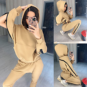 cheap Running & Jogging-Women's 2 Piece Tracksuit Sweatsuit Street Athleisure 2pcs Winter Long Sleeve Breathable Soft Fitness Gym Workout Running Jogging Training Sportswear Solid Colored Hoodie Earth Yellow Black Purple